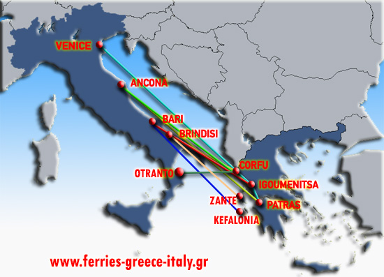 All Greek ferries routes between Greece ( Patras, Corfu, Igoumenitsa, Kefalonia, Paxi, Piraeus - Athens ), Italy ( Ancona, Bari, Brindisi, Trieste, Venice ), Albania ( Durres ) and the Greek islands. ON LINE ! ! !
